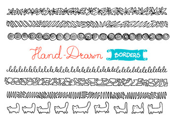 Hand - drawn borders. Collection of simple hand - drawn borders