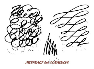 Set of hand drawn ink pen swirly scribbles