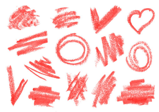 Crayon, dry brush, lipstick rough strokes, doodles set.