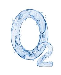 Fototapete - Chemical formula of oxygen made of water splashes, isolated on white background