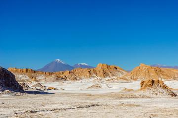 View on moon Valley an volcano Licancabur by San pedro de Atacama in Chile