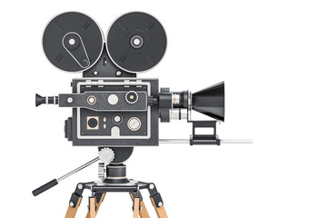 Old movie camera, side view. 3D rendering