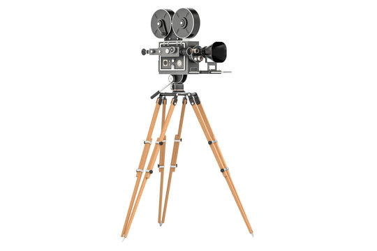 Old movie camera, closeup. 3D rendering