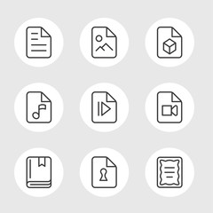 file formats line icons