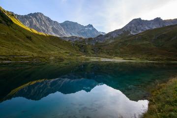 Panoramic view of Schwellisee mountain lake, Arosa, Switzerland