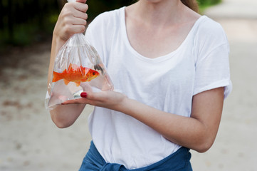Teen girl with aquarium decorative fish