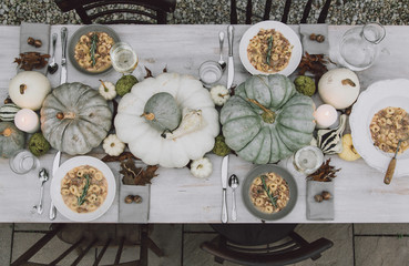 An outdoor table setting for fall