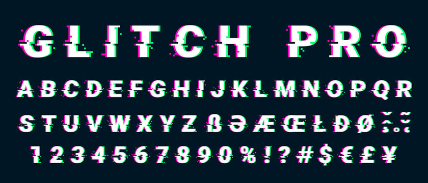 Glitch distorted font letter set with broken pixel effect
