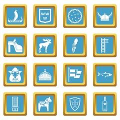 Sweden travel icons azure