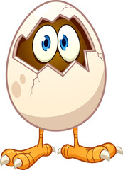 Cartoon chicken egg with eyes popping out. Vector clip art illustration with simple gradients. All in a single layer.