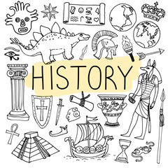 History hand drawn doodles. Vector back to school illustration.