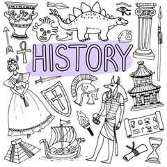 Hand drawn doodles for history lessons. Vector back to school illustration.