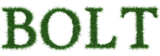 Bolt - 3D rendering fresh Grass letters isolated on whhite background.