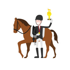 winner of equestrian sport competitions, cartoon character, flat illustration