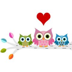 Owls family sitting on a branch with heart