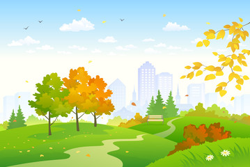 Cartoon autumn park