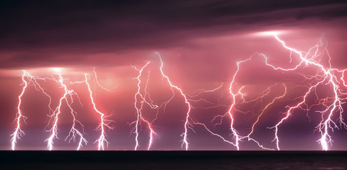 Fotobehang Onweer Nature lightning bolt at night thunder storm