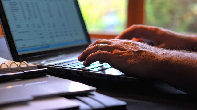 Man entering figures in speadsheet on laptop