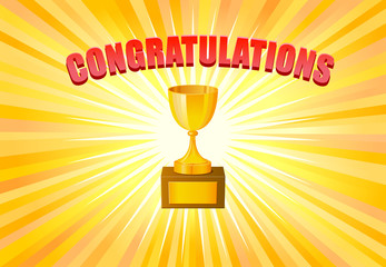 Congratulations text and trophy on yellow light background vector