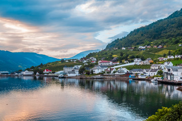 Norway urban Landscape. The view of the sunset in one of the cities of Norway Lofthus, Europe