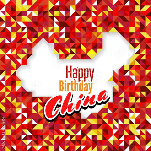 Happy Birthday Day China With Red And Yellow Color Map For Greeting