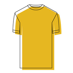 yellow watercolor silhouette of t-shirt man