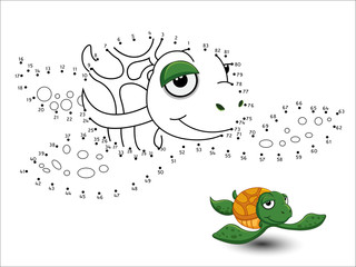 Turtle Cartoon Connect the dots and color