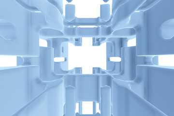 Abstract Futuristic tunnel like spaceship corridor blue metal in white space. 3d illustration