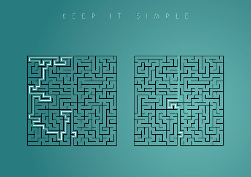 Keep it simple business concept for marketing, creativity, project management. Brilliant meaning solution with simple flow.