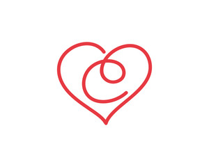 Letter C and heart logo 1