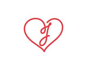 Letter J and heart logo 1