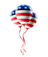 Vector of USA balloons with American flag isolate on white background for American Labor Day,Memorial Day or Independence day.