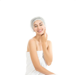 Beautiful spa woman showing perfect skin with copy space isolated on white.