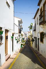 Spaniens Gasse mit grünen Blumtöpfen