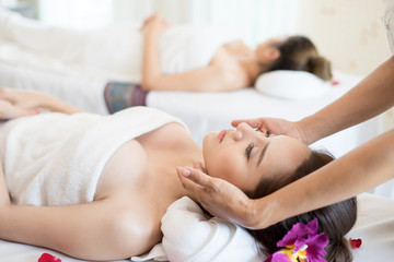 Traditional oriental massage therapy and beauty treatments. Young beautiful have massage woman in spa salon.