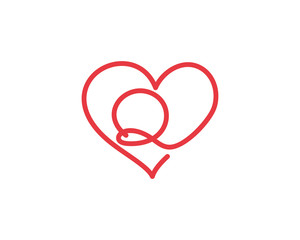 Letter Q and heart logo 1