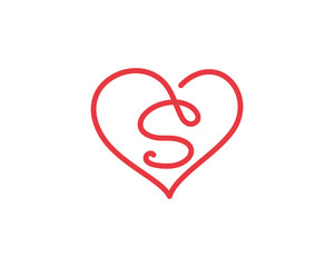 Letter S and heart logo 1