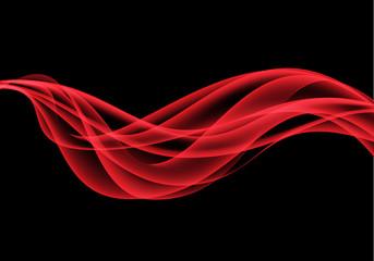 Abstract red wave on black design modern background vector illustration.