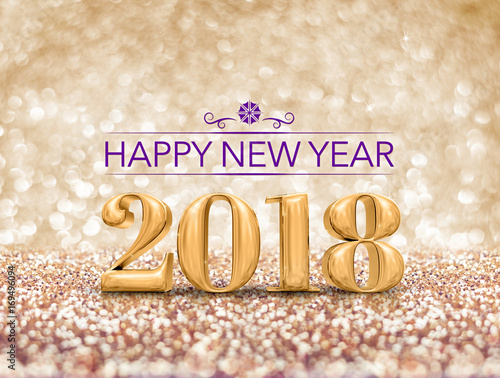 happy new year 2018 year number 3d rendering at sparkling golden glitter studio background