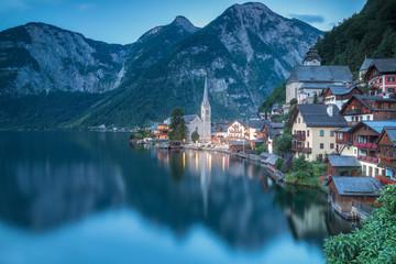 Hallstatt and the lake at dawn, Upper Austria, region of Salzkammergut, Austria