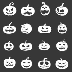 set of silhouette spooky horror images of pumpkins for halloween