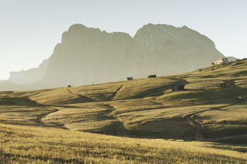 Alpe di Siusi/Seiser Alm, Dolomites, South Tyrol, Italy. Sunrise on the Alpe di Siusi