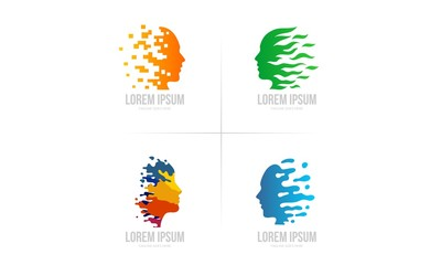 Abstract Human Figure - Colorful  Head Vector - Creative Logo