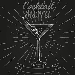 Martini, Cocktails menu 3 chalkboard