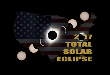 2017 Total Solar Eclipse Phases Across America USA