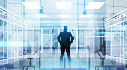 Silhouette Man In Data Center Room Hosting Server Computer Information Database Flat Vector Illustration