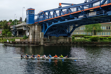 Rowing under the Fremont Bridge