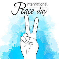 National Day of Peace. Peace gesture with watercolor stains. Vector illustration for your creativity