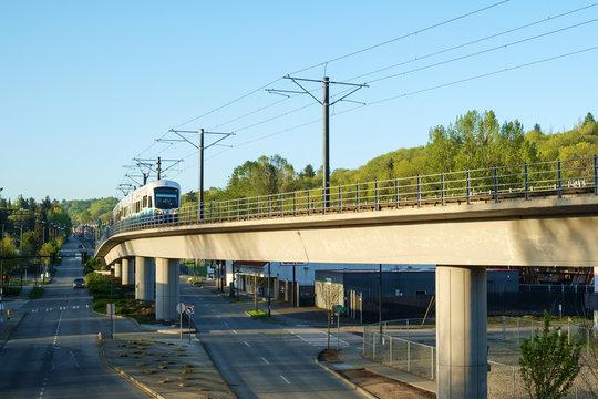 Link Light Rail approaching Mt. Baker station