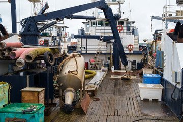 Commercial fishing boat-cluttered deck